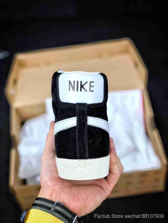 Nike Blazer Mid PRM VNTG SUEDE 开拓者黑白高帮复古休闲板鞋 情侣款  ,专供天猫京东平台 货号538282-040