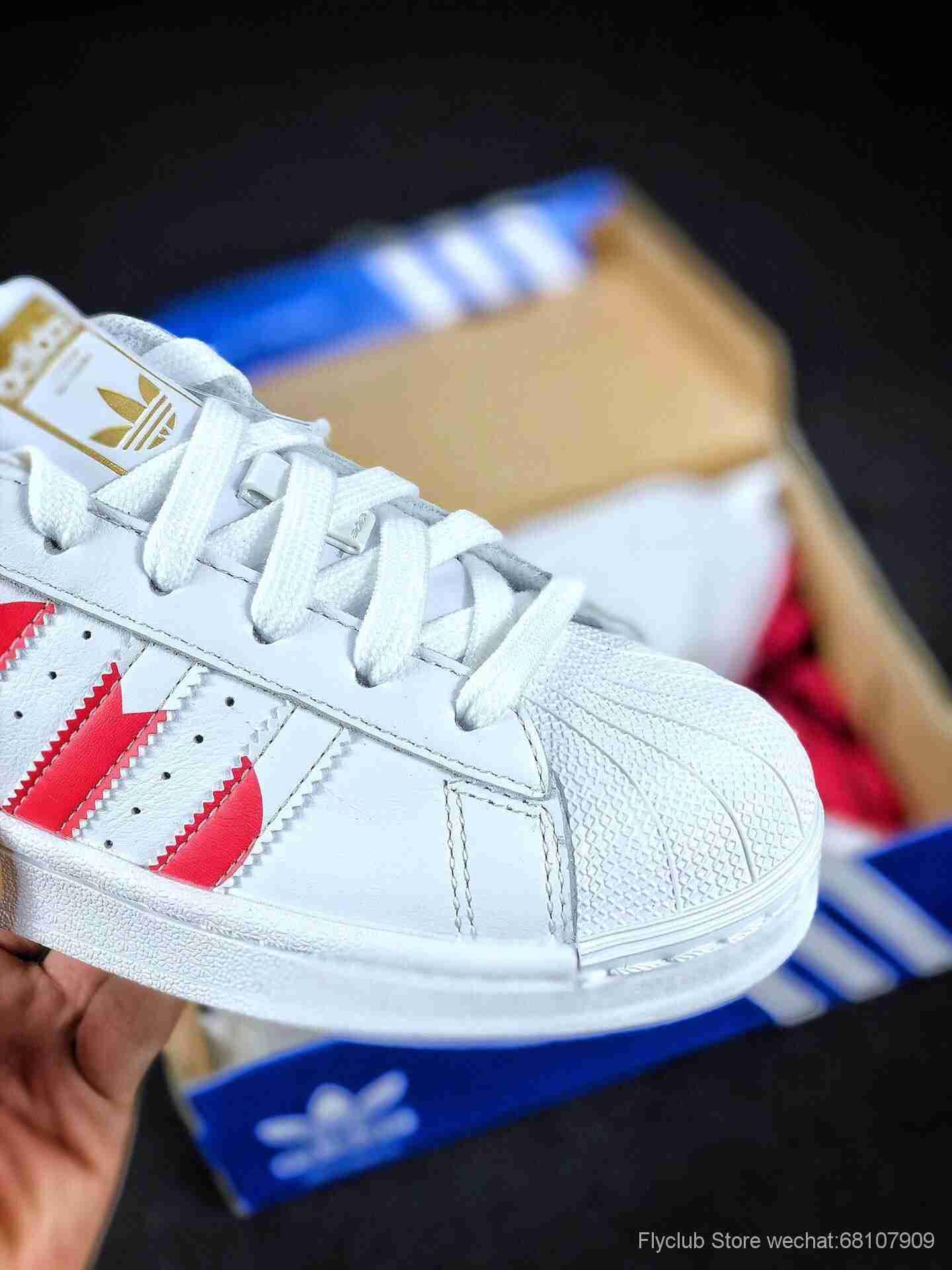 正品订单 19ss情人节限定 Adidas Superstar 三叶草贝壳头 情人节限定 白红爱心