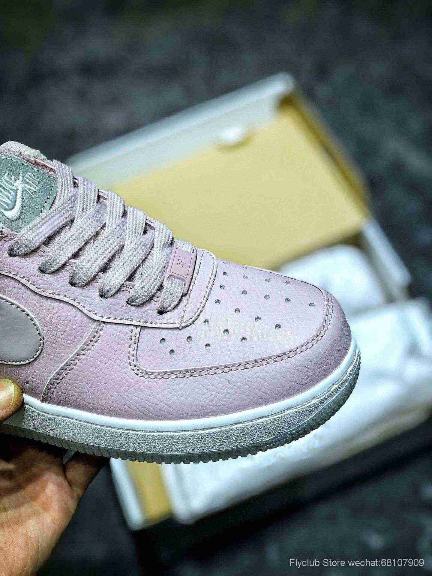Air Force 1 3M反光 空军一号低帮女子运动休闲板鞋 ,白粉水晶底