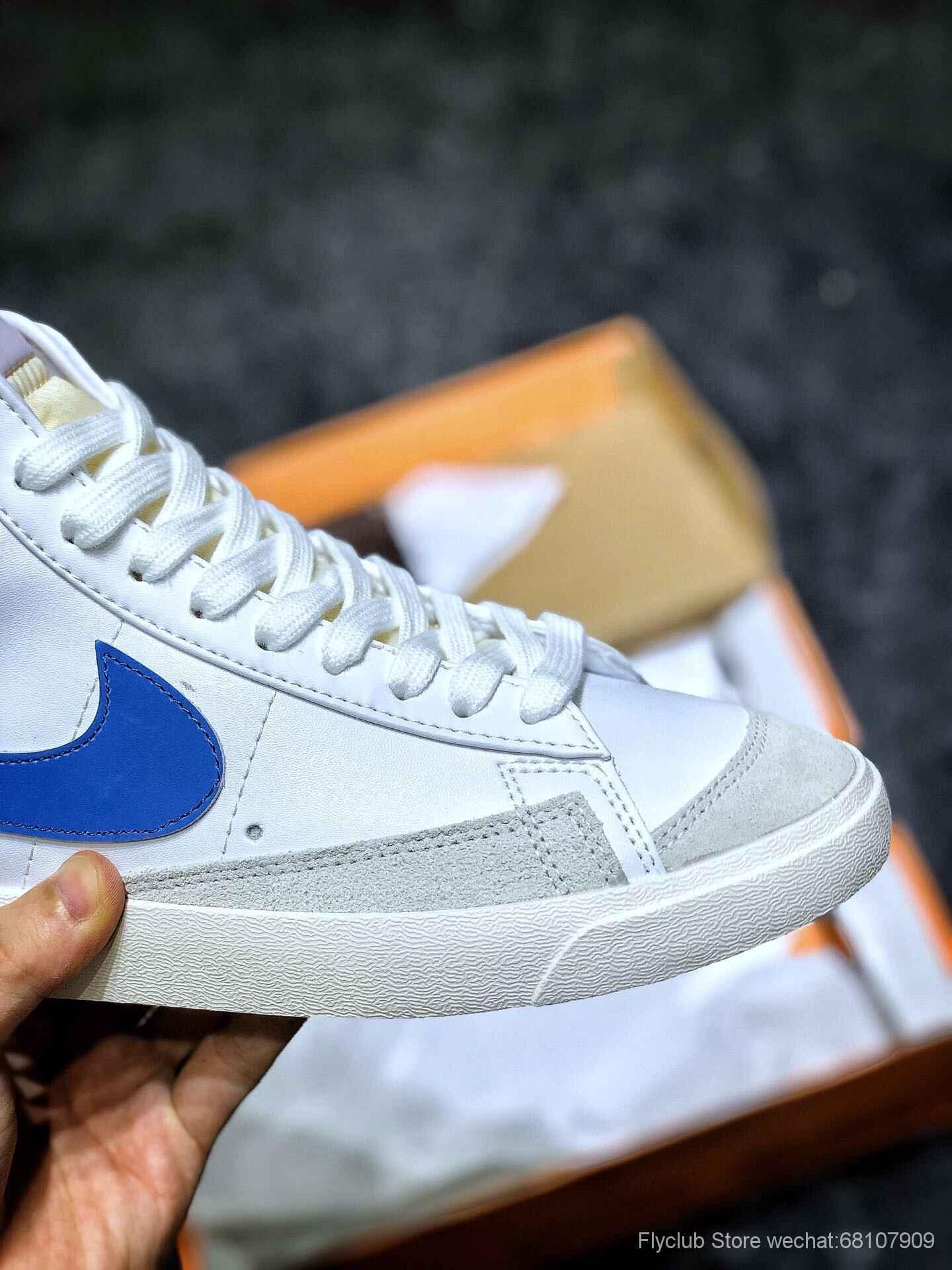 nike板鞋官网_Nike Blazer Mid 77 VNTG QS 开拓者高帮白绿白红白蓝大勾复古板鞋-【ST ...