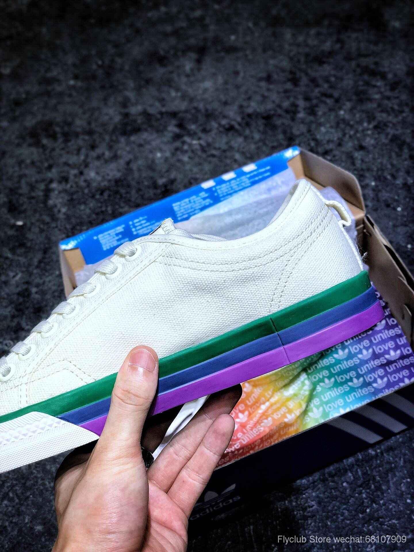 小红书爆款 Adidas Nizza 校园板鞋 三叶草校园风板鞋 最新配色鸳鸯彩虹帆布鞋