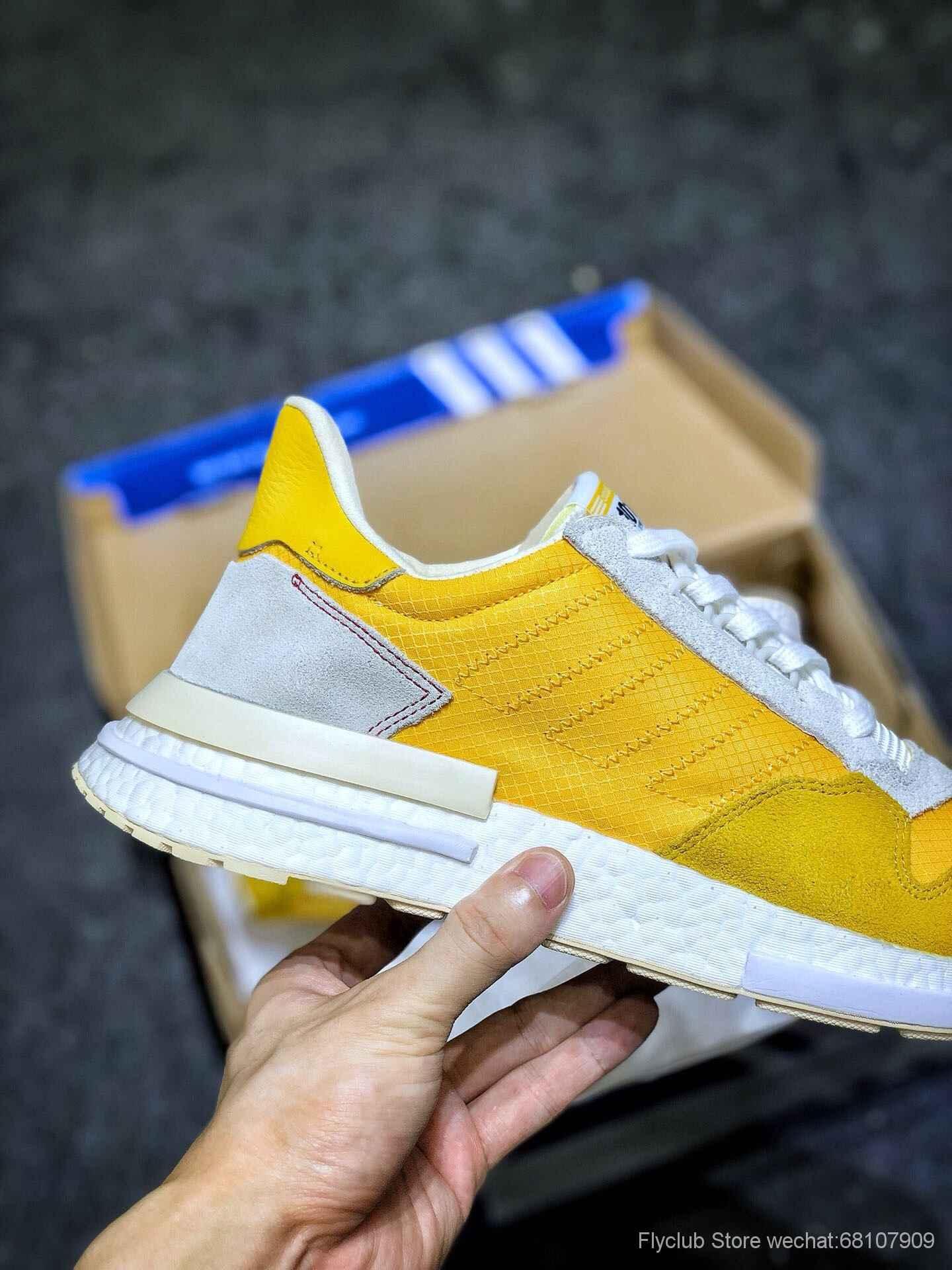 三叶草新品Adidas ZX500 RM Boost adidas Originals 经典跑鞋,醒目的骚黄配色 CG6860