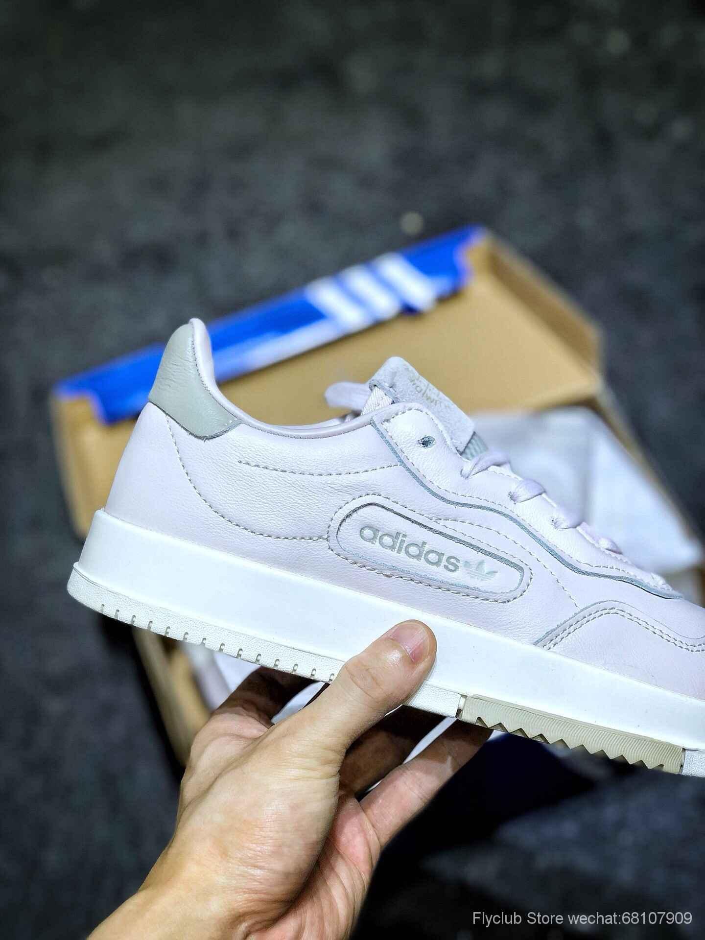 "Adidas SC Premiere""White""三叶草历史首秀系列经典复古平底百搭休闲波鞋鞋款以淡紫色为主调"