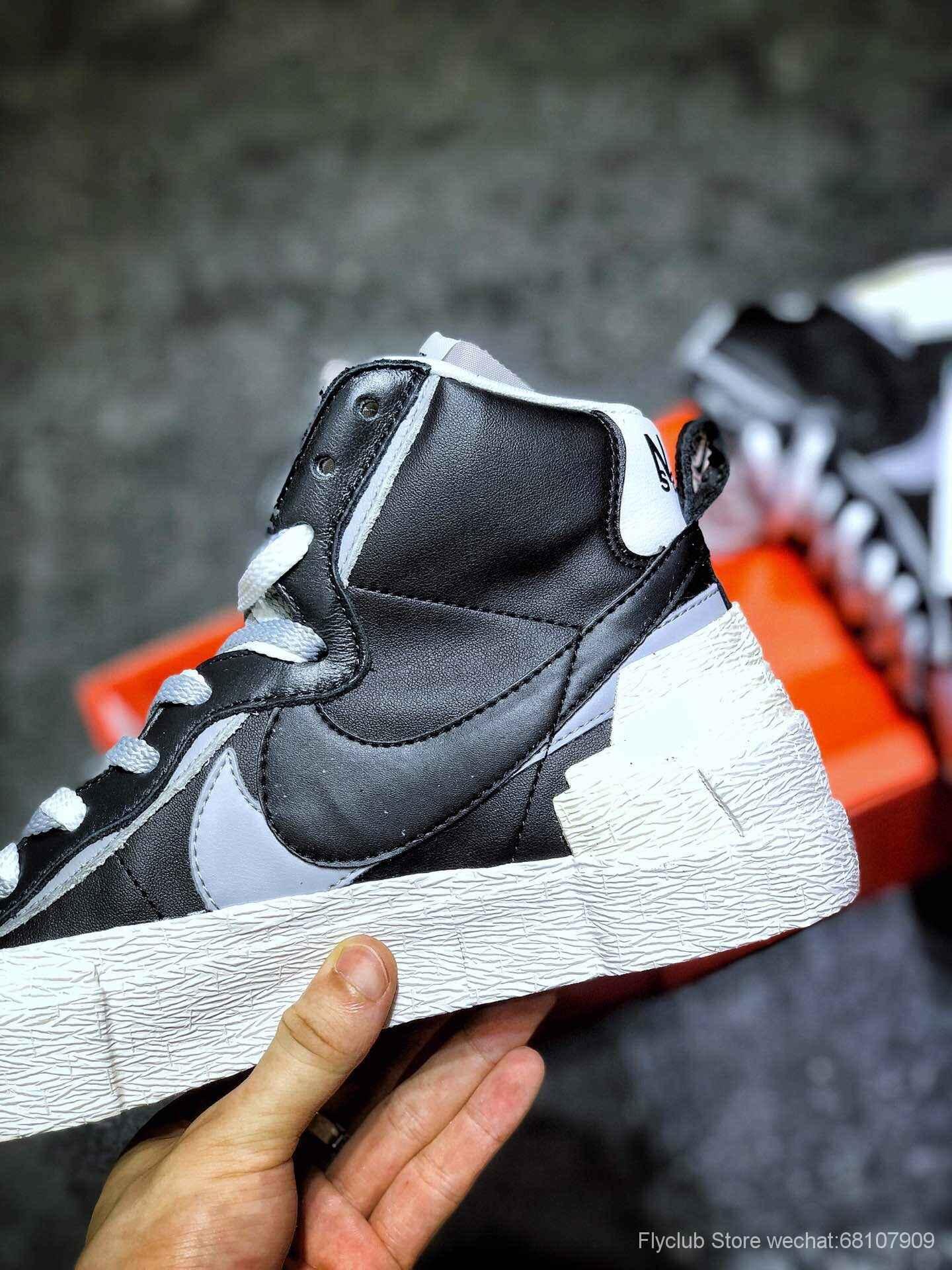 flyclub #top纯原 黑灰新配色‼️Sacai X Nike Blazer with Dunk ,开拓者 联名走秀款解构高端潮流, 双钩开拓者