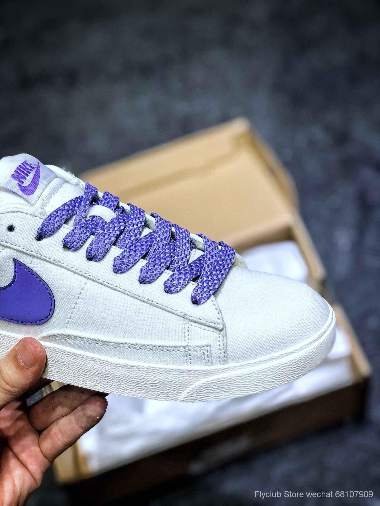 开拓者板鞋 素雅风 白紫 NK BLAZER LOW LX 3D立体logo低帮板鞋 复古帆布货号:AV9371-117