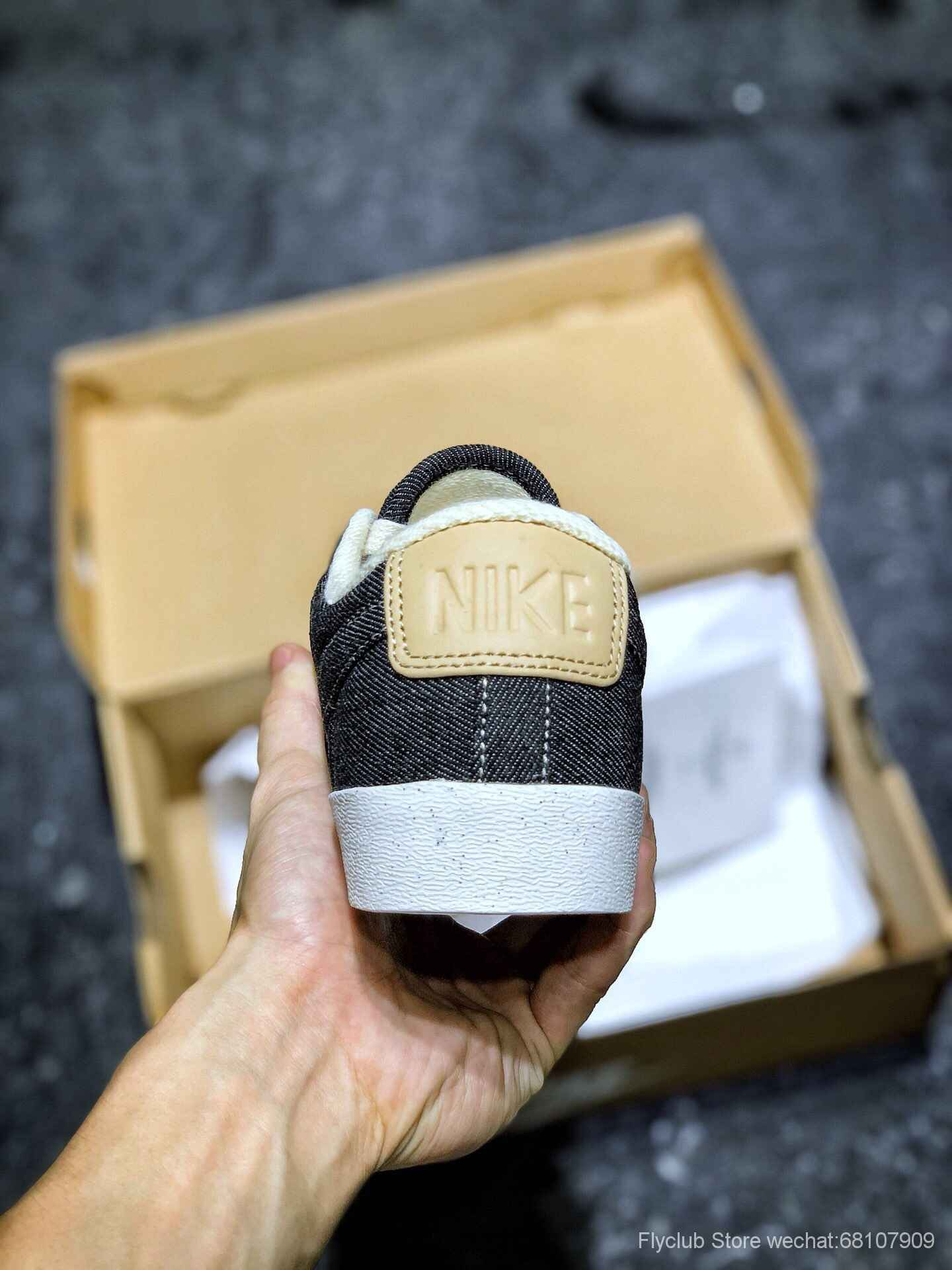 开拓者板鞋 素雅风 丹宁黑牛仔 NK BLAZER LOW LX 3D立体logo低帮AV9371-117