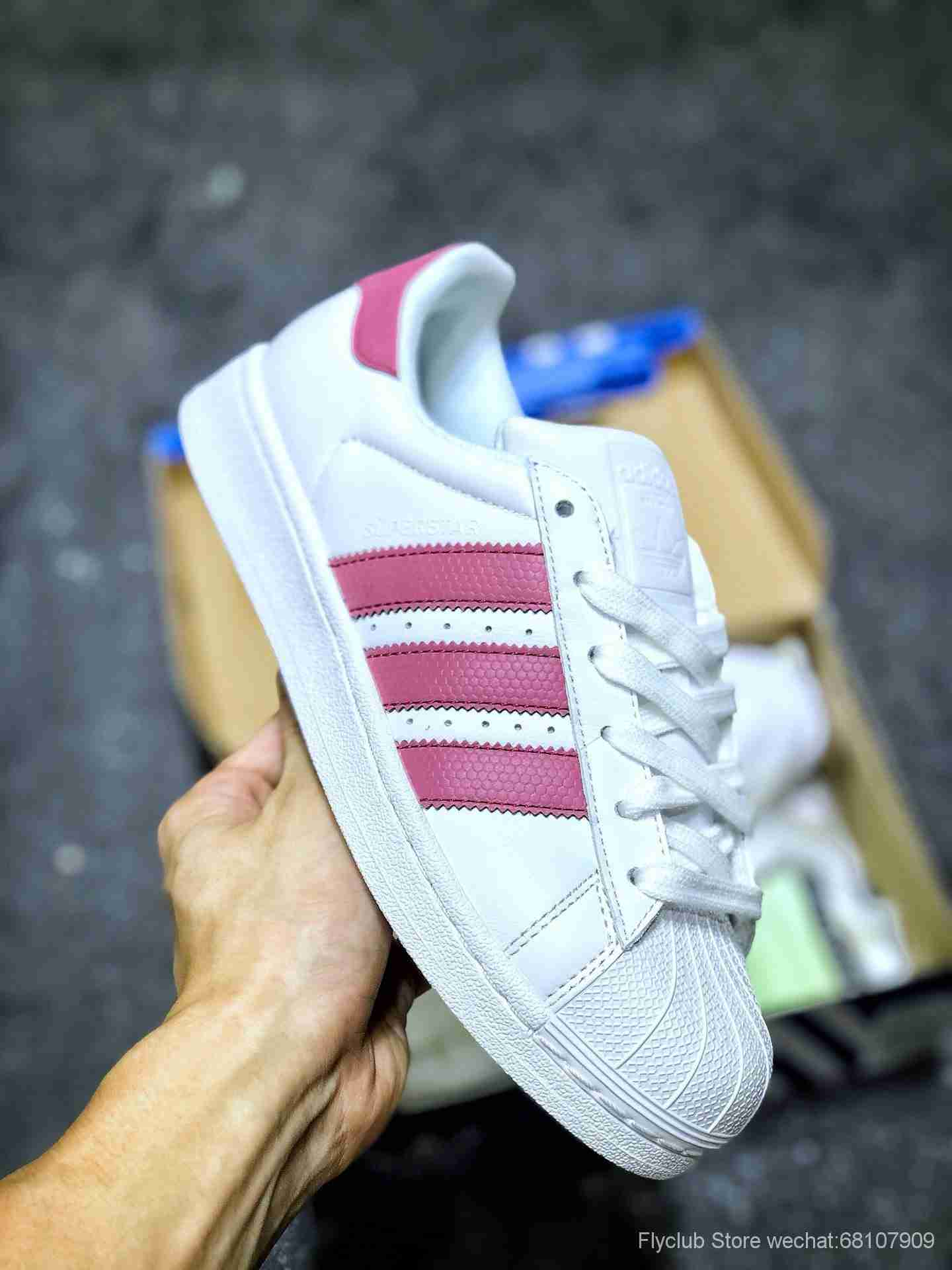 白粉3M反光 Adidas三叶草Originals SUPERSTAR W贝壳头经典百搭休闲运动小白板鞋,