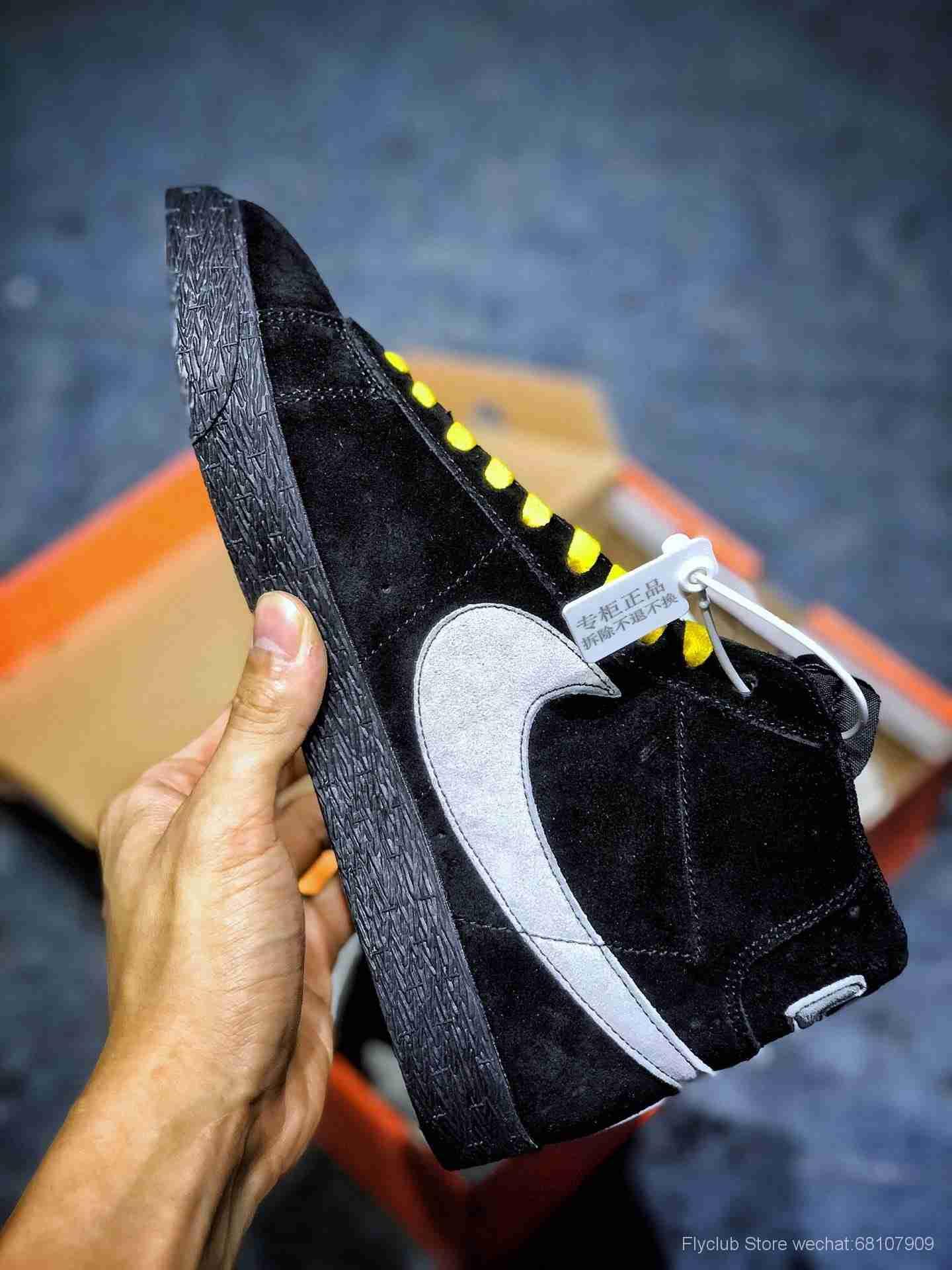 "OFF-WHITE 联名既视感 湖人 VS 尼克斯!Nike Blazer Mid""NY vs LA"" 开拓者中帮""黑鸳鸯彩底鞋带AT9978-001"
