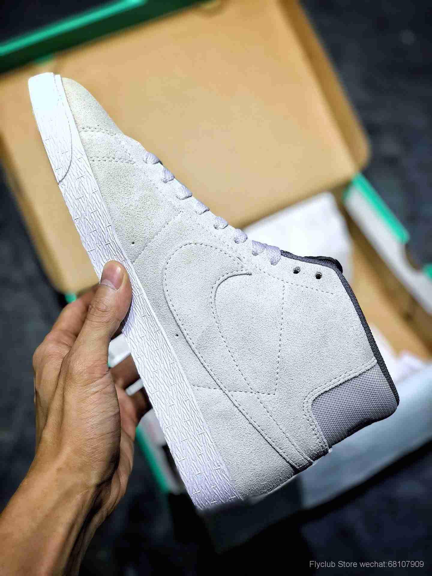 Nike SB Zoom Blazer Mid 开拓者SB中性高帮灰白 水洗翻毛皮 货号  864349-003
