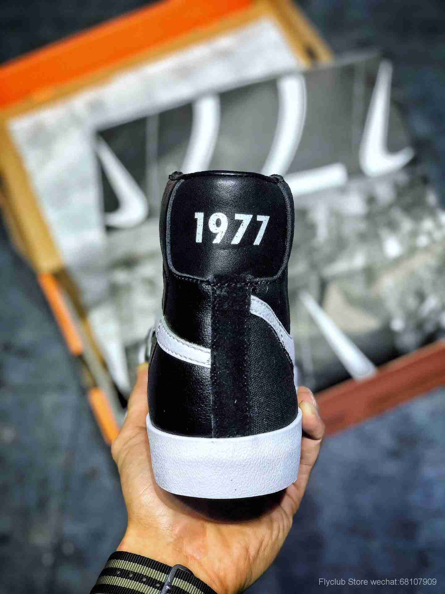 """拼接鸳鸯钩√倒钩 联名Slam Jam x NK Blazer Mid """"Class 1977″经典开拓者高帮""""白灰黑皮面"""""""