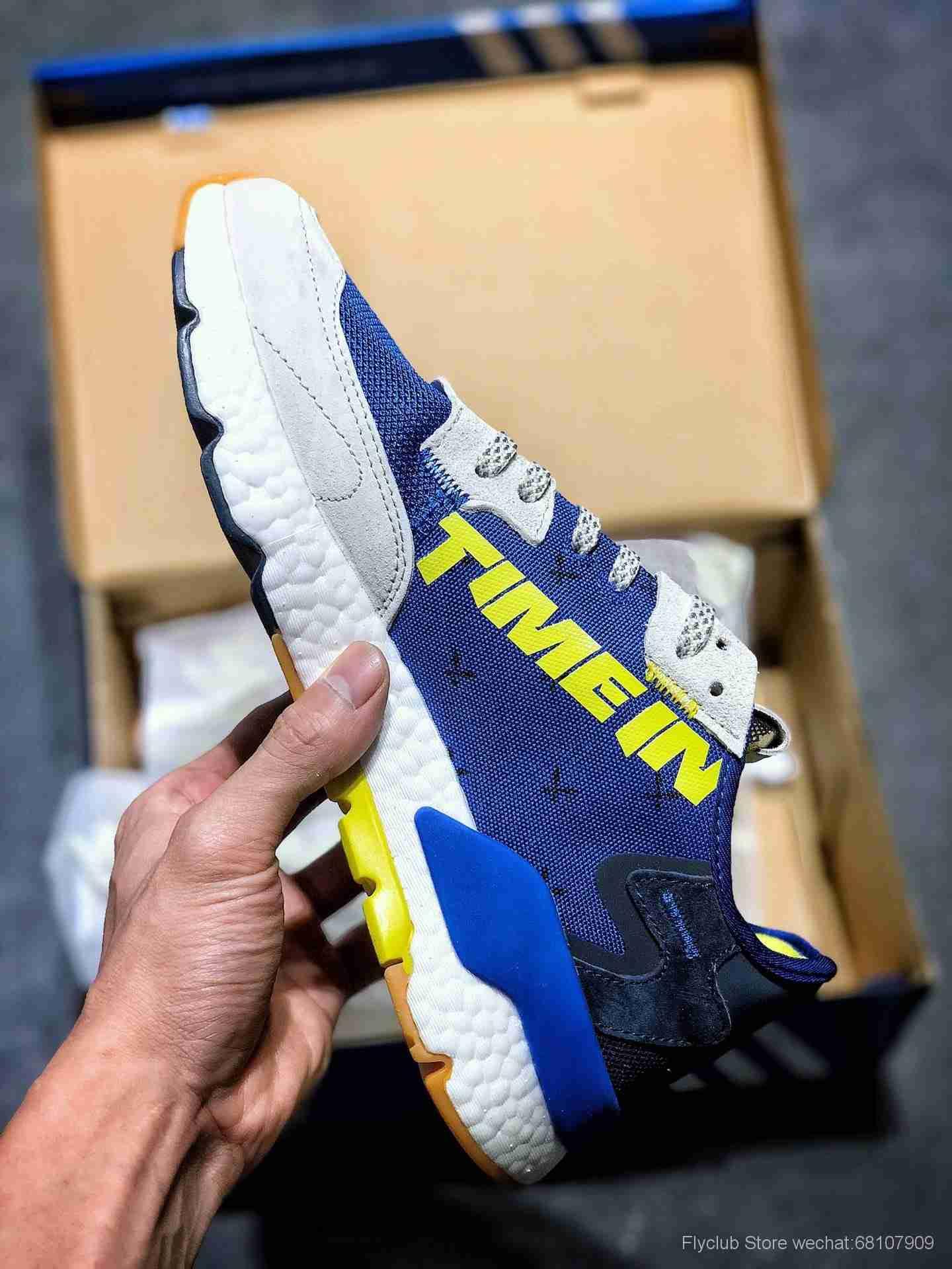 "Ninja x Adidas Originals Nite Jogger Boost""Time In""跑鞋""米灰夜蓝黄3M""FV6404"