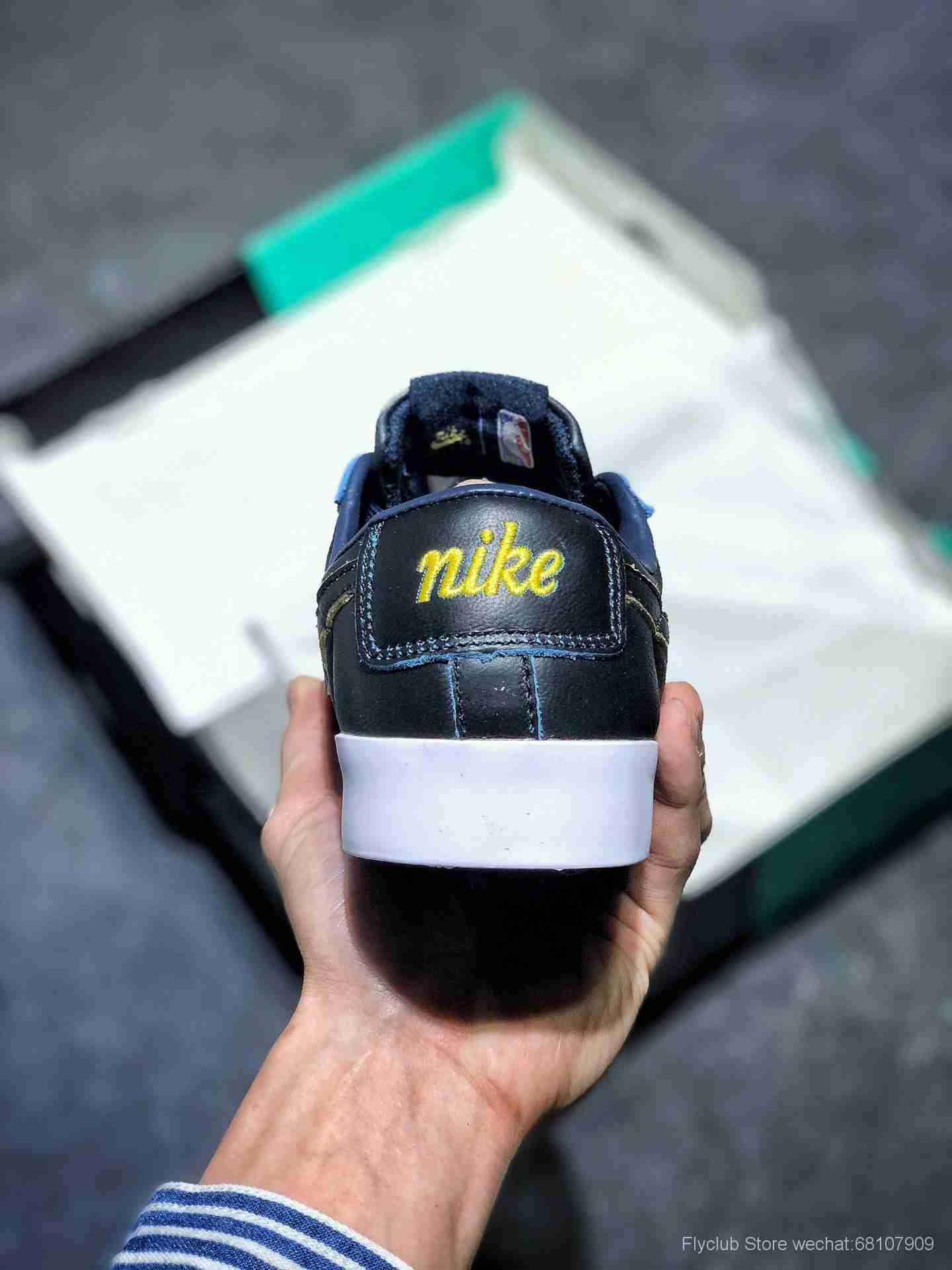 """金州勇士""""限定🏀NBA联名 x Nk SB Blazer Low GT""""Black""""开拓者""""黑蓝黄边"""" 货号BQ6389-001"""